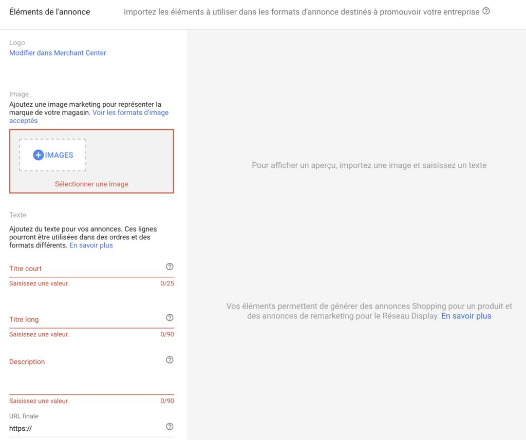 Paramétrage d'une annonce Smart Shopping Google