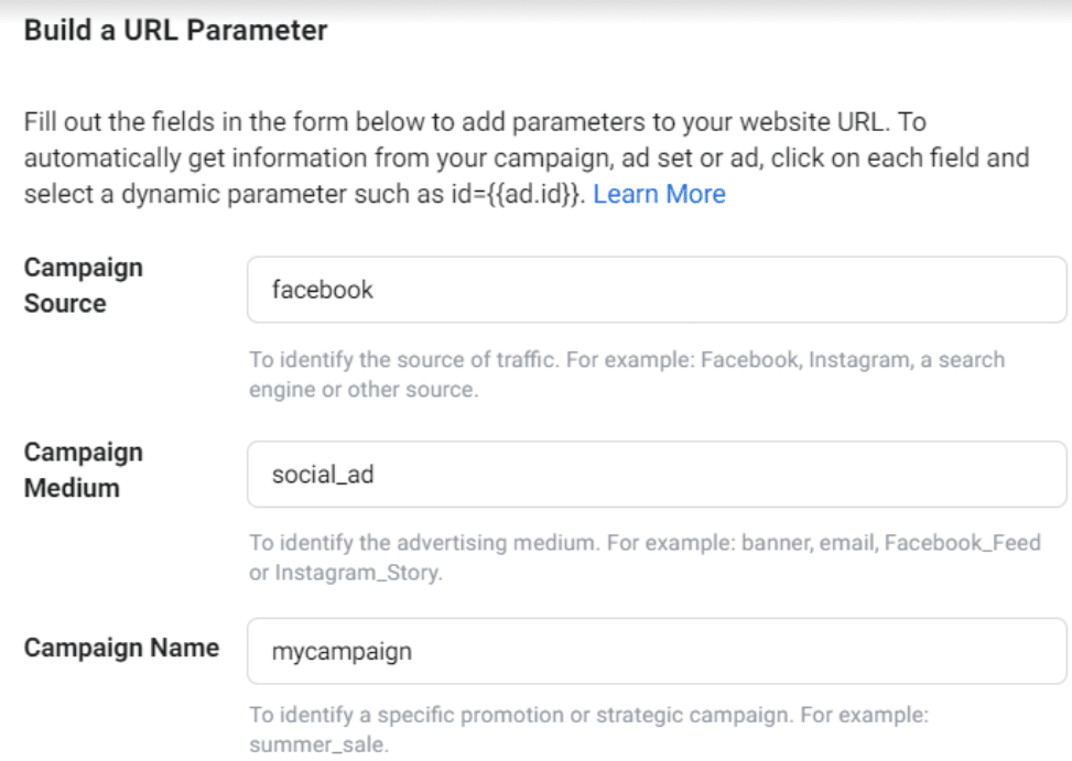 Exemples d'UTMs Google Analytics pour des campagnes Facebook